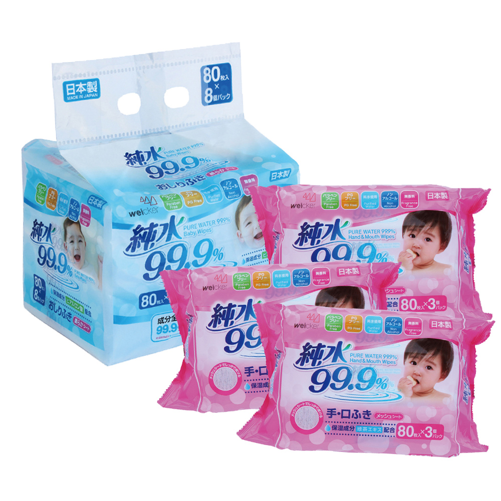 Weicker-純水99.9%日本製濕紙巾一般型6包+手口專用12包