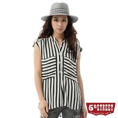 5th STREET 襯衫 條紋背心襯衫-女-黑色