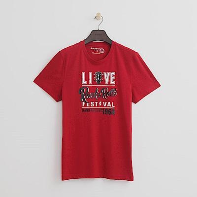 Hang Ten - 男裝 - 有機棉 搖滾音樂節T恤-紅色