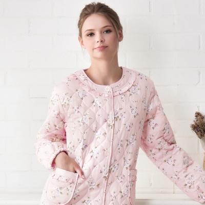 羅絲美睡衣 - 甜蜜玫瑰長袖保暖外袍(桃粉色)