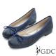 GDC-優雅閃料蝴蝶結圓頭平底娃娃鞋-藍色 product thumbnail 1