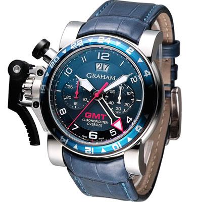 GRAHAM 格林漢 GMT計時機械腕錶-藍/47mm