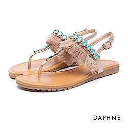 達芙妮DAPHNE 涼鞋-流蘇鑽飾釦帶夾腳平底涼鞋-藍