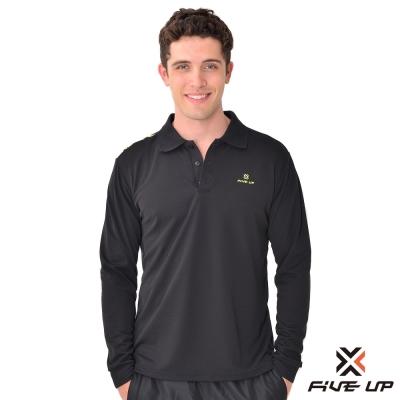 FIVE UP-素色簡約吸排長袖POLO衫-男-神祕黑