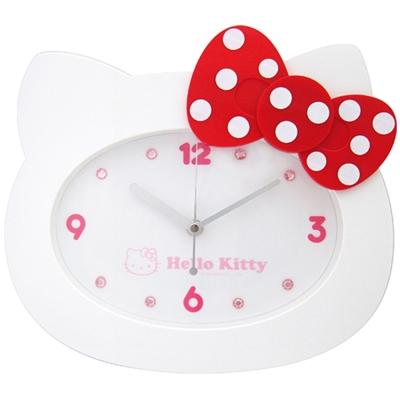 Hello Kitty凱蒂貓 貓臉造型粉彩珠光超靜音掛鐘(經典白)JM-W595KT-W