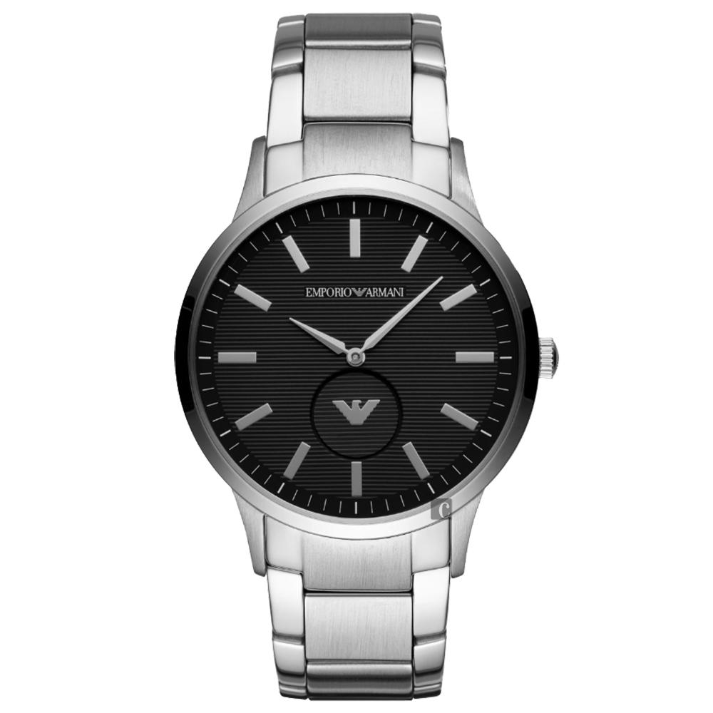 Emporio Armani 亞曼尼LOGO小秒盤手錶-黑x銀/43mm