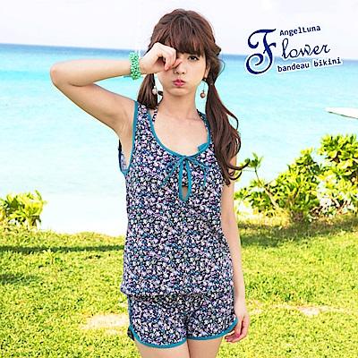 【AngelLuna日本泳裝】 復古小碎花四件式比基尼泳衣-綠色