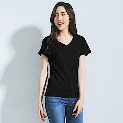 101原創 經典水洗原色V領素T恤上衣-女-共7色