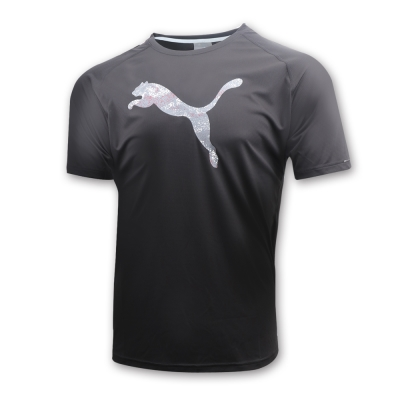 PUMA-男性慢跑系列大跳豹短袖T恤-黑色-歐規