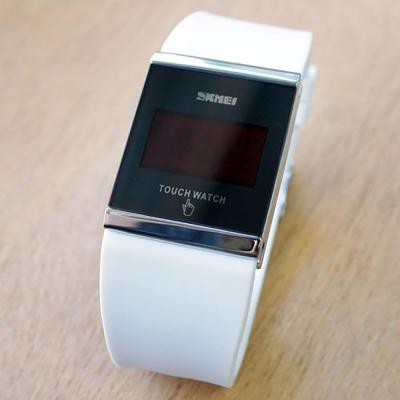 SKMEI時刻美 繽紛果凍LED多彩 觸控智能電子錶~白