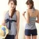 兩件式繞頸綁帶短褲泳裝 皺折假V領海洋風 (XL尺碼T-769) TiNyHouSe product thumbnail 1