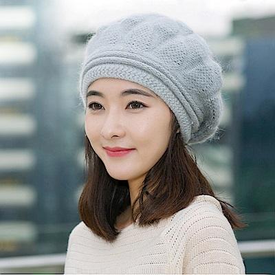 幸福揚邑 棱紋小顏毛線帽雙層保暖護耳防風兔毛針織貝蕾帽-淺灰