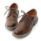 D+AF 懷舊主義.復古感刷色綁帶馬汀鞋*棕