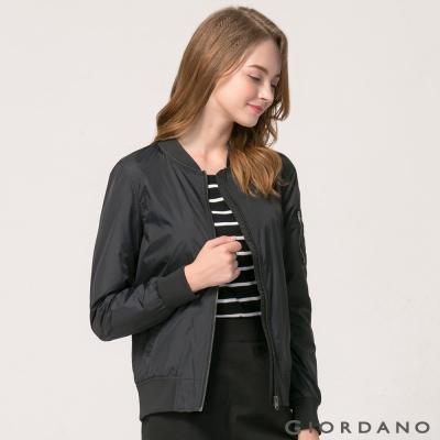 GIORDANO 女裝立領飛行員夾克MA-1 - 09 標誌黑