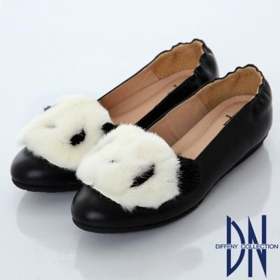 DN 甜美俏皮 立體絨毛熊貓平底鞋-黑