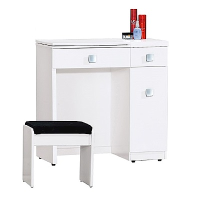 AT HOME-瑪麗2.4尺白色掀式鏡台(含椅)(73*41*76cm)