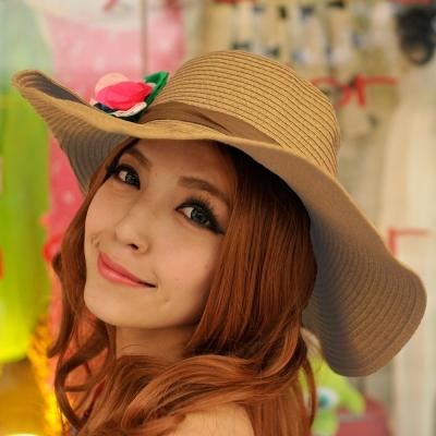 Aimee-Toff-京彩和風漾花遮陽帽-棕