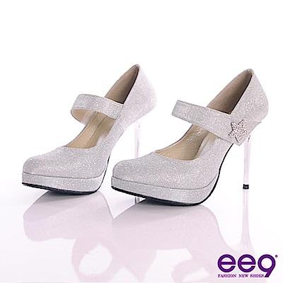 ee9-星鑽閃耀進口閃亮斜紋布夢幻亮鑽高跟鞋-銀色