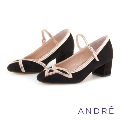 ANDRE-復古流線繫帶低跟鞋-黑金色