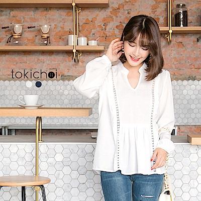 東京著衣 肩側蕾絲微透膚雪紡上衣-S.M(共二色)