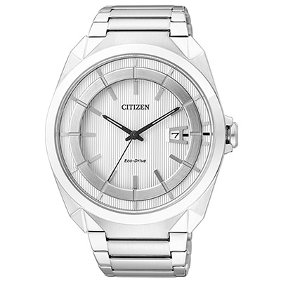 CITIZEN星辰 簡約都會直紋光動能不鏽鋼腕錶(AW1010-57B)-銀/42mm