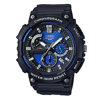 CASIO 逆跳的扇形計時獨立顯示日期運動錶(MCW-200H-2)藍面53.5mm