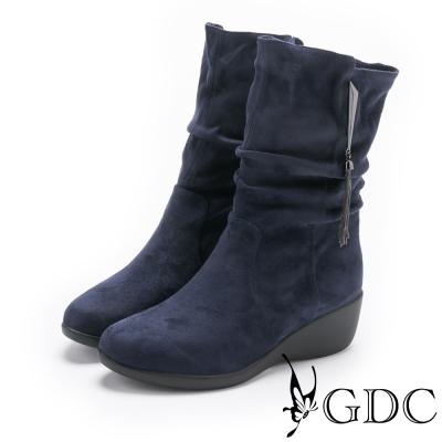 GDC-流蘇抓皺船型底中筒短靴-藍色