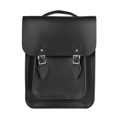 The Leather Satchel 英國原裝手工牛皮經典後揹包 手提包 火炭黑