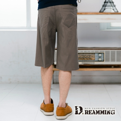 Dreamming 大尺碼超輕薄百搭伸縮七分休閒短褲-卡其