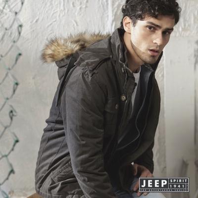 JEEP-毛絨連帽鋪棉夾克
