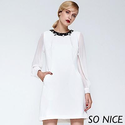 SO NICE浪漫雪紡拼接洋裝