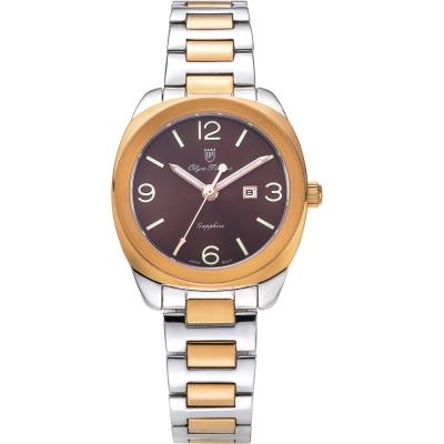 奧柏表 Olym Pianus 聚焦經典石英腕錶-雙色x咖啡/33mm   5706LSR
