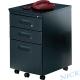 NICK-經濟型黑色粉體烤漆鋼製三抽活動櫃