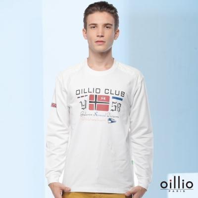 歐洲貴族oillio-長袖T恤-OILLIO-CLUB-年輕風格-白色