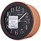 SEIKO 精工 經典仿木紋圓潤滑動式秒針 靜音鬧鐘 - 時尚黑