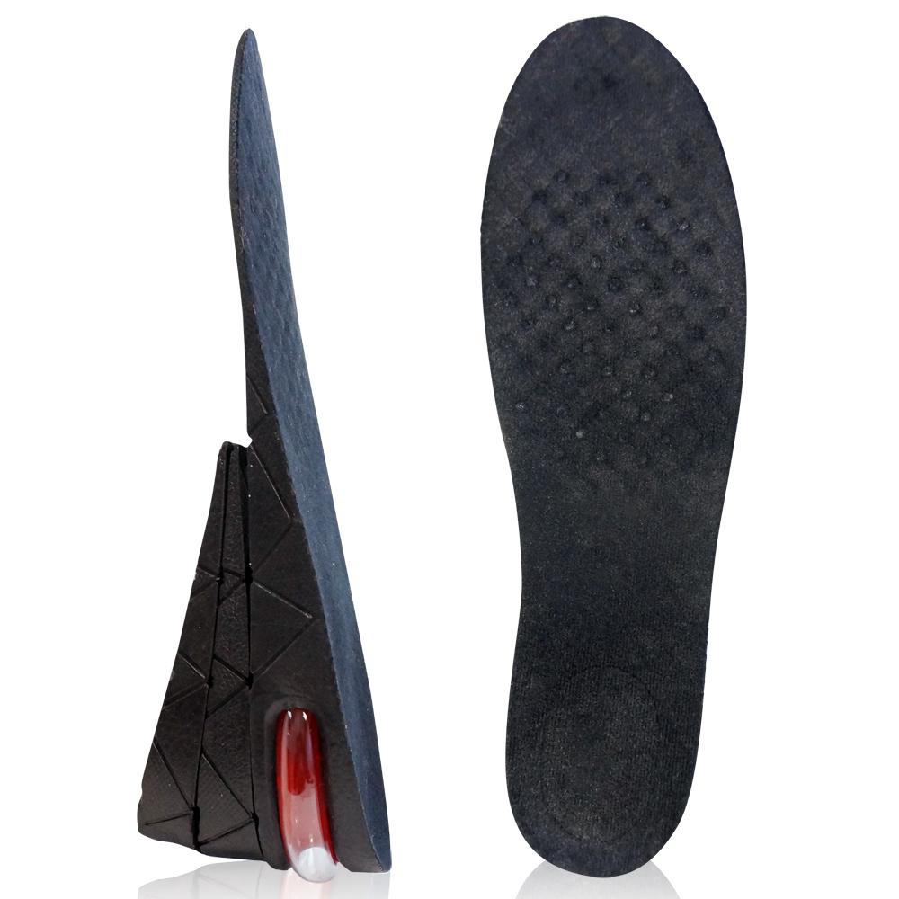 足的美形  粉彩氣墊式三層7.5cm增高鞋墊 黑(2雙)