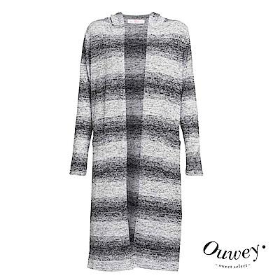 OUWEY歐薇-漸層針織連帽長版外套-灰