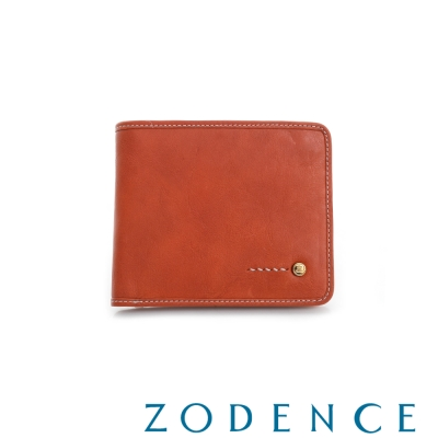 ZODENCE MAN 義大利植鞣革系列金LOGO設計三折窗短夾 橘紅