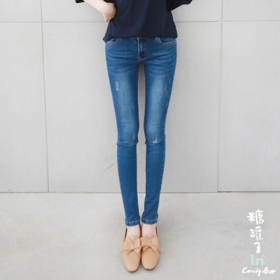 糖罐子-刷色爪痕口袋單寧褲(藍)