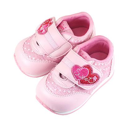 Swan天鵝童鞋-閃亮甜蜜愛心機能學步鞋 1552-粉