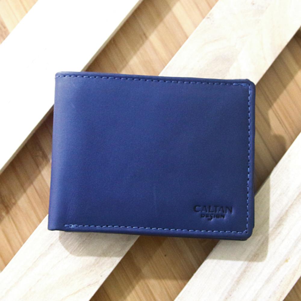 CALTAN - 男用短皮夾 三折式 多功能 零錢短夾 證件夾 名片夾-1768blue