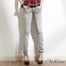 Victoria 小袋貼鑽小直筒褲-女-淺灰
