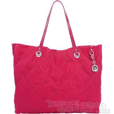 Moncler 桃紅色菱格車線肩背購物包-大(附吊飾)