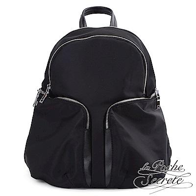 La Poche Secrete 輕盈時尚簡約大雙口袋尼龍後背包-百搭黑