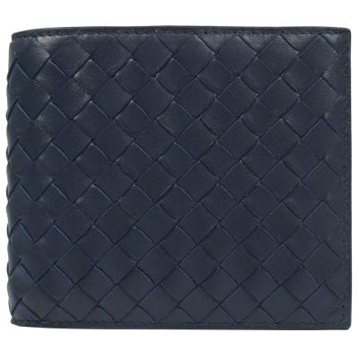 BOTTEGA VENETA 經典編織小羊皮信用八卡雙折短夾.深藍