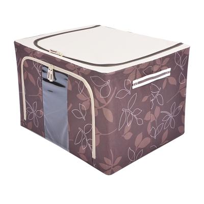居家達人 花漾摺疊萬用收納箱-66L(咖啡)