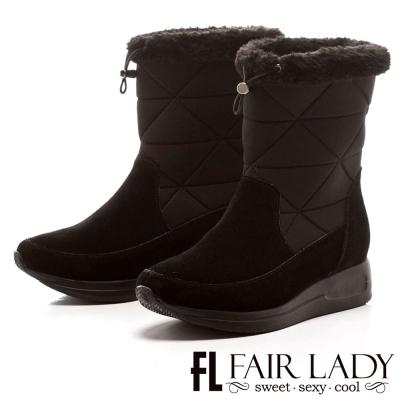 Fair Lady 寒冬對策2way厚底運動雪靴 黑