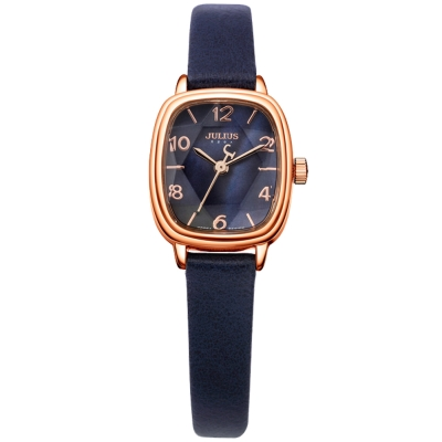 JULIUS聚利時 星光大道立體鏡面皮錶帶腕錶-深藍/22x25mm