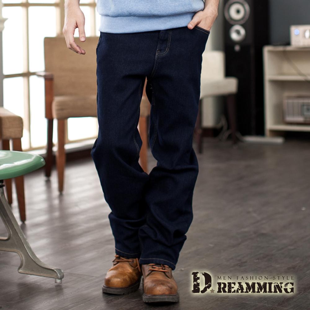 Dreamming 保暖內磨毛伸縮中直筒牛仔褲-深藍