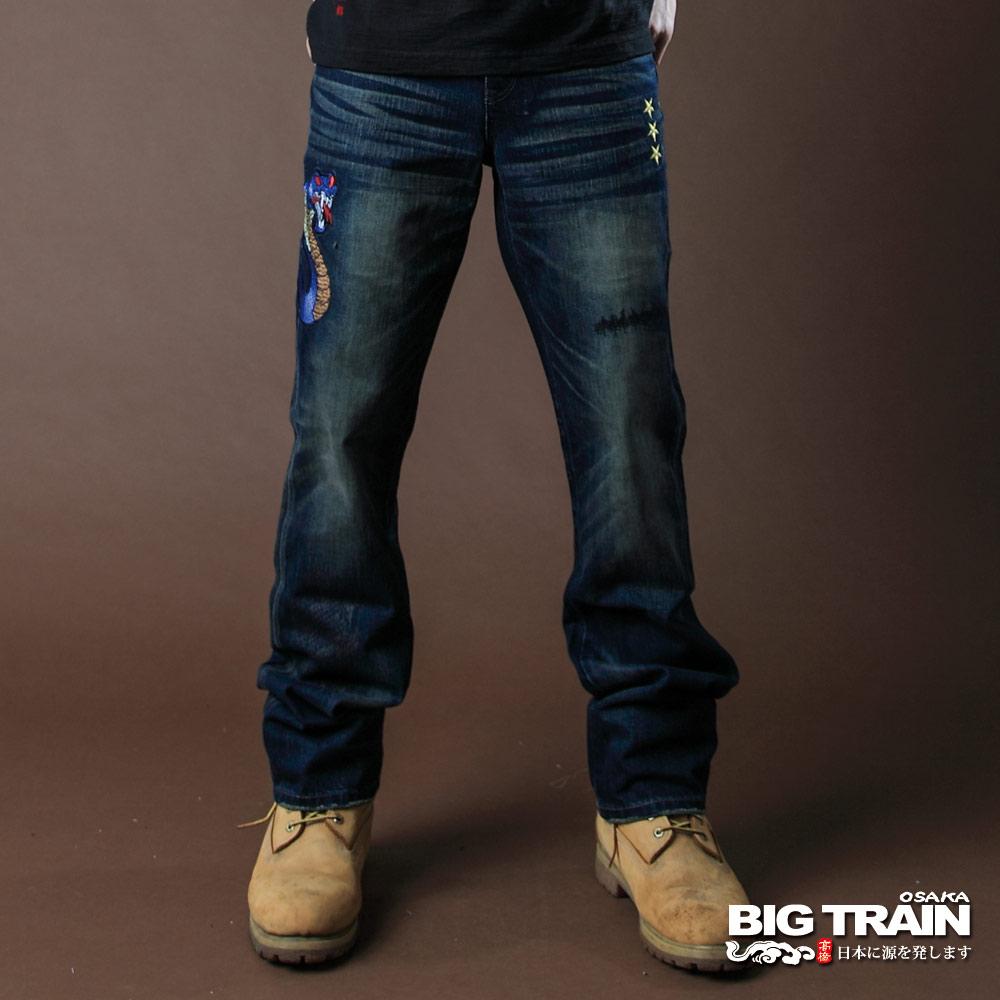 BIG TRAIN-COBRA眼鏡蛇小直筒褲-深藍